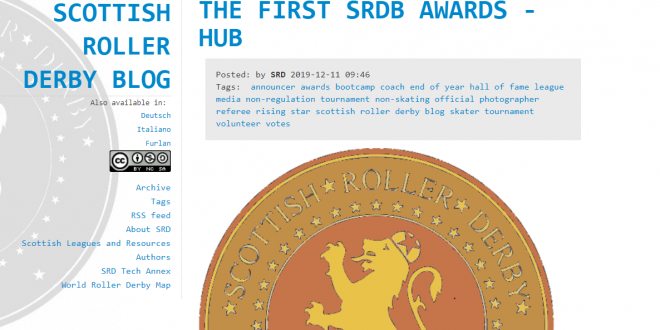 Filotto di italiani agli Scottish Roller Derby Blog awards 2019!